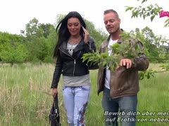 German brunette fucks tv star Jan-Martin Kuhnke outdoors