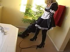 Submissive maid lets him screw her ass