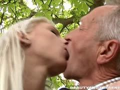 Grandpa's cock turns to a boner to fuck a busty blonde