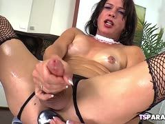 Tranny with big boner milks herself for you