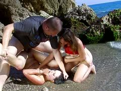 Nathalie Vanadis has a threesome on the beach
