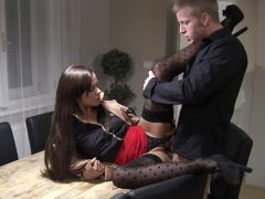 Hot fuck in nylons in the workplace