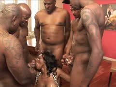 Ebony sucks giant black boners
