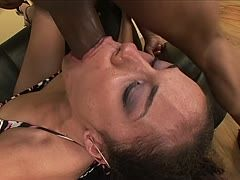 Black cock bangs a Latina's throat with a creamy finale