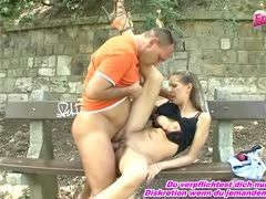 German couple enjoys a quickie on the park bench