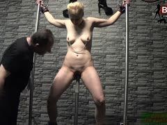 Brutal spanking session with whip in a German forbidden dungeon