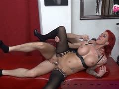 Tattooed German housewife Anica Red with big breasts is banged