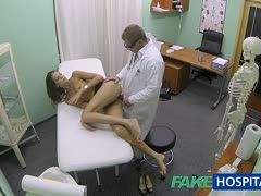 Perverted gynecologist plays with his patient's cunt