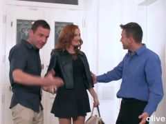 Pretty redhead likes to be fucked by two men