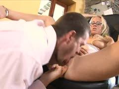 Blonde office help gets cum soaked