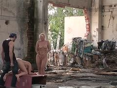 Threesome anal fucking in an abandoned factory
