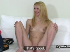 Porn casting with a slim blonde