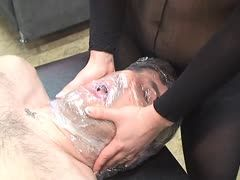 Breath control and perverted games with wax