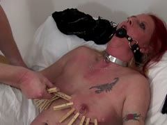 Torture the cunt with a gag in the mouth
