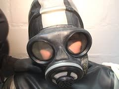 Breath control with latex gas mask
