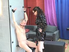 Hard dominatrix lets her slave suffer