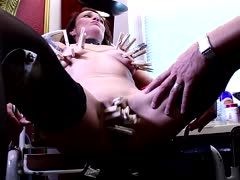 Extreme torture with clamps and wanking