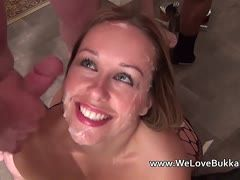 Horny dicks jizz on the amateur girl