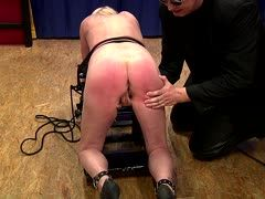 Always horny female slave is tied to the torture rack