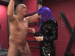 Annika Bond takes an old slave's cock