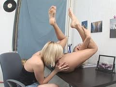 Nikki and Anna have fun in the office