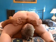 Fat milf squeezes his face in 69er position