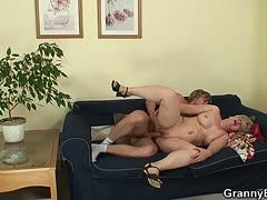 Young toyboy for granny's mature slit