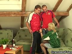 Threeway fucking with the soccer granny