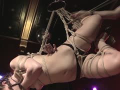 Hogtied female amateur is hung up