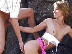 Milf is banged between the rocks