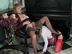 Young maid must lick the landlady