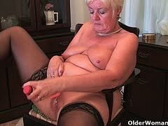 Grannies have their first dildo fuck