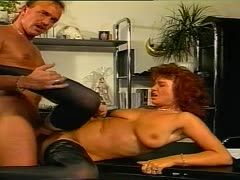 German secretary lets him bang her hairy hole