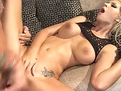 Tattooed porn star fucks hot blonde