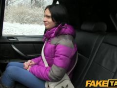 Blackhaired girl jerks off for the cab ride